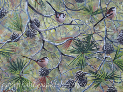 """Flitting Through"" painting of Long-Tailed Tits by wildlife artist Jackie Garner"