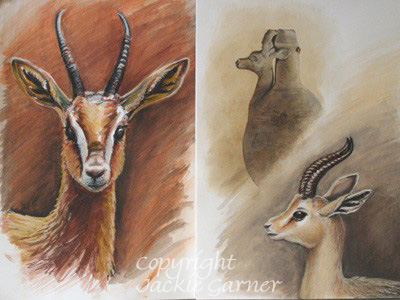 Dorcas Gazelles watercolour painting