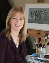 Jackie Garner, wildlife artist, in her studio