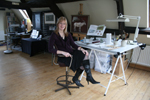 Jackie Garner, wildlife artist, photo in the studio