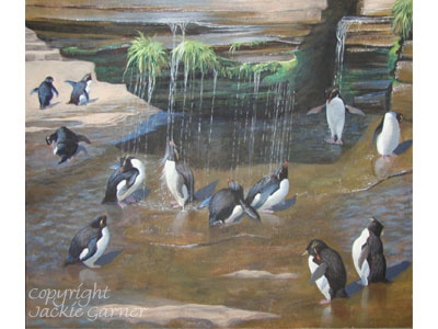 Acrylic painting 'Rockhopper showers'